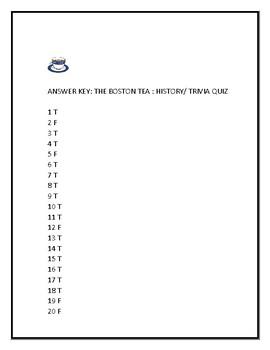 THE BOSTON TEA PARTY: A HISTORY/ TRIVIA QUIZ