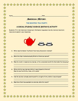THE BOSTON TEA PARTY:  A SOCIAL STUDIES/ BOTANY ACTIVITY