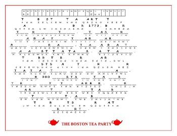 THE BOSTON TEA PARTY CRYPTOGRAM- HAVE FUN!