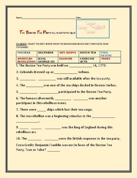 THE BOSTON TEA PARTY QUIZ  W/ ANSWER KEY