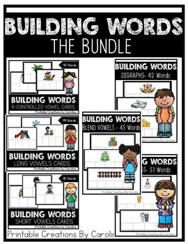 THE BUNDLE. Building Words. Centers. Word Cards. Kindergarten, First Grade.
