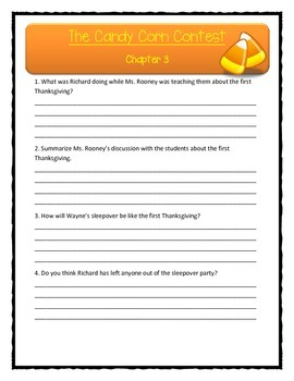 THE CANDY CORN CONTEST Patricia Reilly Giff - Comprehension & Text Evidence