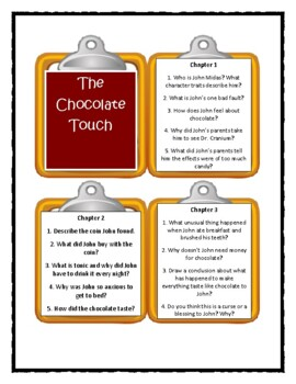 THE CHOCOLATE TOUCH by P. Catling - Discussion Cards