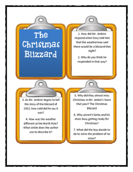 THE CHRISTMAS BLIZZARD by Helen Ketteman - Discussion Cards