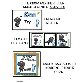 CROW AND THE PITCHER FABLE UNIT FOR EMERGENT READERS FOCUSING ON PERSEVERANCE