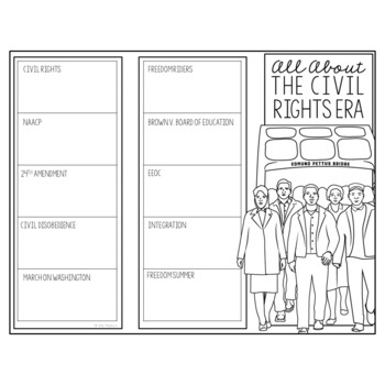 THE CIVIL RIGHTS ERA Research Brochure Template, American History Project