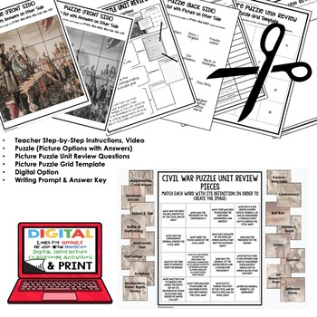 THE CIVIL WAR Picture Puzzle Unit Review, Study Guide, Test Prep