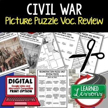 THE CIVIL WAR Picture Puzzle Unit Review, Study Guide, Test Prep