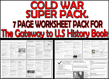 THE COLD WAR SEVEN PAGE WORKSHEET PACK - FOR The Gateway to U.S History Book