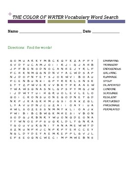 THE COLOR OF WATER Vocabulary Word Search