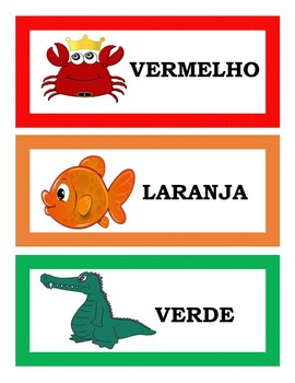 THE COLORS IN PORTUGUESE FLASH CARDS, WORD WALL, AND POSTERS (1ST TO 5TH)