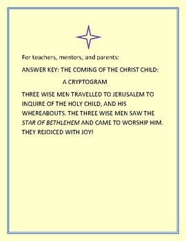 THE COMING OF THE CHRIST CHILD: AN ADVENT CRYPTOGRAM: GRS. 3-6