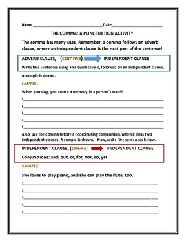 THE COMMA: A PUNCTUATION ACTIVITY