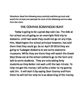 THE COMMA SCAVENGER HUNT