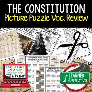 THE CONSTITUTION Picture Puzzle Unit Review, Study Guide, Test Prep
