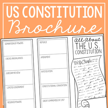 THE CONSTITUTION Research Brochure Template, American History Project