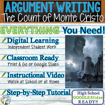 Count of Monte Cristo by A. Dumas  Text Dependent Analysis Argumentative Writing