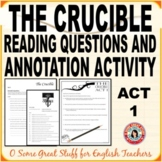 THE CRUCIBLE Act 1 BUNDLE Comprehension Questions with Exposition Annotation