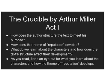 THE CRUCIBLE: Day 1 Act I Guided Reading Slides