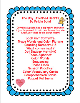 THE DAY IT RAINED HEARTS  BOOK UNIT