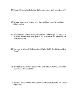 THE DOUBLE HELIX Book Questions