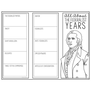 THE FEDERALIST YEARS Research Brochure Template, American History Project