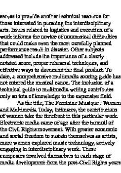 "THE FEMININE MUSIQUE: MULTIMEDIA AND WOMEN TODAY and ""On Writing for Multimedia"""