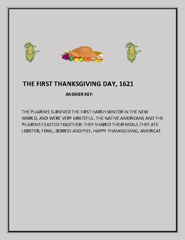 THE FIRST THANKSGIVING, 1621: A FUN CRYPTOGRAM