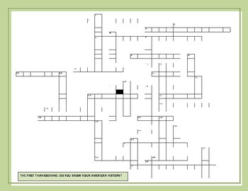THE FIRST THANKSGIVING: AMERICAN HISTORY CROSSWORD: GRS.8-12, MG, AP HISTORY