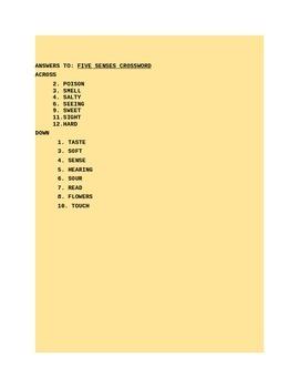 THE FIVE SENSES CROSSWORD PUZZLE GRADES 3-6