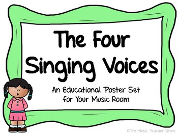 THE FOUR SINGING VOICES POSTER SET FOR YOUR CHORUS/CHOIR OR GENERAL MUSIC ROOM