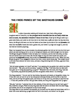 THE FROG PRINCE STORY WITH QUESTIONS