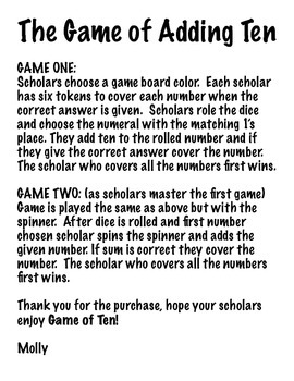 THE GAME OF TEN