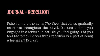 THE GIVER - 17 Journal Quickwrites  - Google Slides and Forms Version