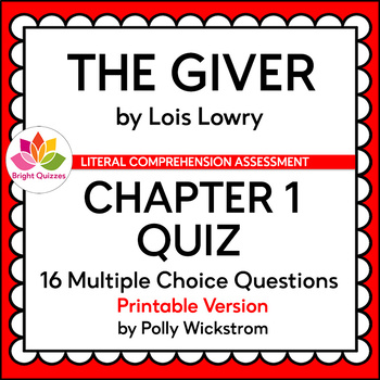 photograph relating to Printable Quizzes named THE GIVER CHAPTER 1 PRINTABLE QUIZ by way of Vibrant Quizzes TpT