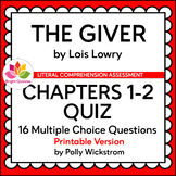 THE GIVER | CHAPTERS 1-2 | PRINTABLE QUIZ