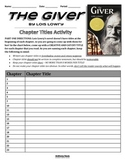 THE GIVER - Chapter Titles Activity