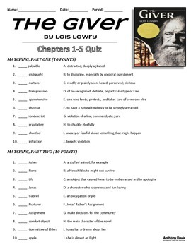 THE GIVER - Chapters 1-5 Quiz