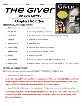 THE GIVER - Chapters 6-12 Quiz