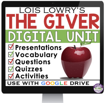 THE GIVER DIGITAL PAPERLESS UNIT PLAN FOR GOOGLE DRIVE