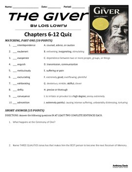 THE GIVER - Test and Quizzes Packet