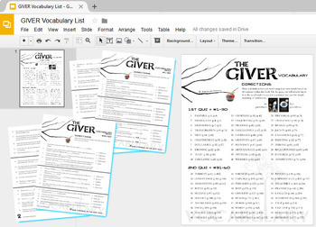 THE GIVER Vocabulary List and Quiz Assessment (Created for Digital)