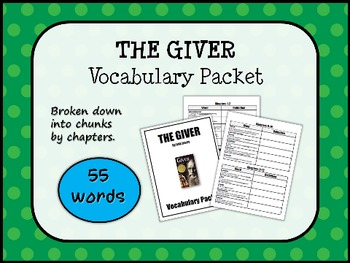 THE GIVER by Lois Lowry VOCABULARY PACKET