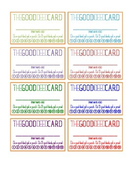 THE GOOD DEED CARD | Punch Card | Leader Habits | Character Education