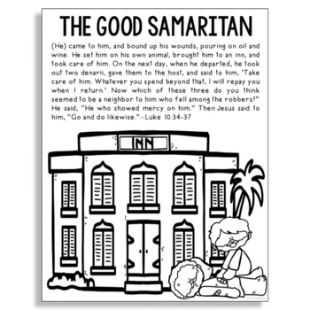 The Good Samaritan Bible Story Coloring Page Religious Craft Activity
