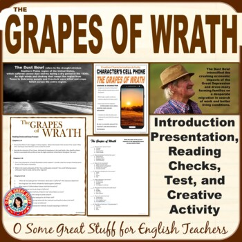 THE GRAPES OF WRATH BUNDLE-INTRO, CHECKS, TEST, CREATIVE ACTIVITY