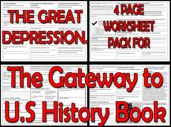 THE GREAT DEPRESSION. FOUR PAGE WORKSHEET PACK - The Gateway to U.S History Book