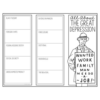 THE GREAT DEPRESSION Research Brochure Template, American History Project