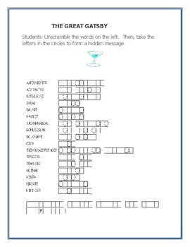 THE GREAT GATSBY: A VOCABULARY WORD JUMBLE PUZZLE ACTIVITY