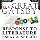 THE GREAT GATSBY Essay Prompts and Speech w Rubrics (Created for Digital)